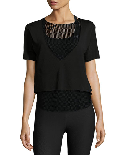 Double Layer Mesh Tee, Black