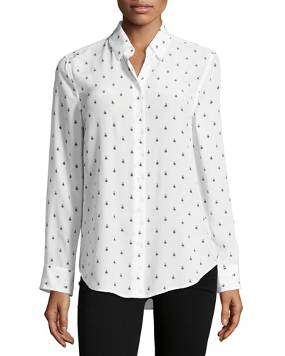 Insect-Print Essential Long-Sleeve Silk Shirt, White