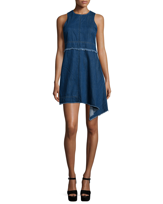 Sleeveless Asymmetric-Hem Denim Dress, Blue