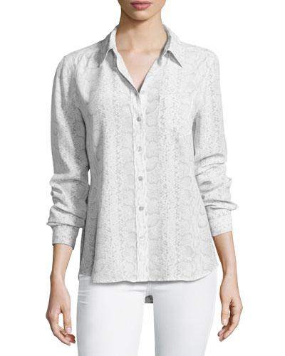 Brett Snakeskin-Print Silk Shirt, White