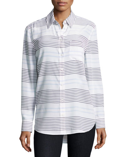 Reese Striped Long-Sleeve Oxford Shirt, White/Blue