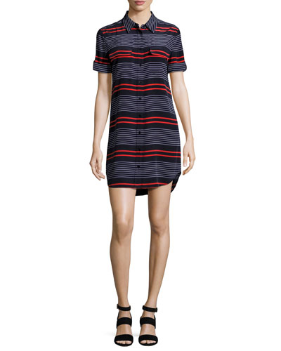 Short-Sleeve Slim Signature Striped Shirtdress, Blue/Red