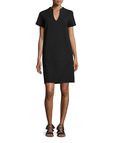 Lisbona Short-Sleeve Textured Shift Dress