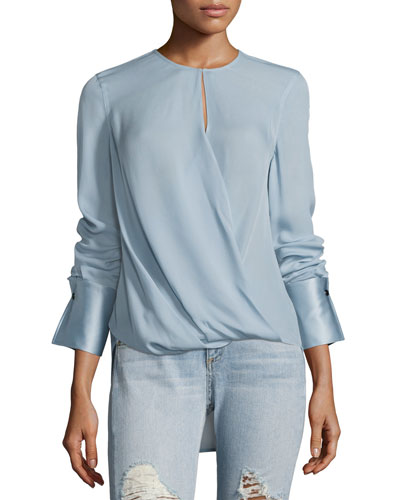 Max Long-Sleeve Linen Blouse, Blue