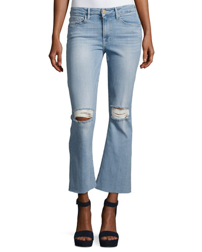 Le Crop Mini Boot-Cut Jeans with Raw Edge, Garrn River