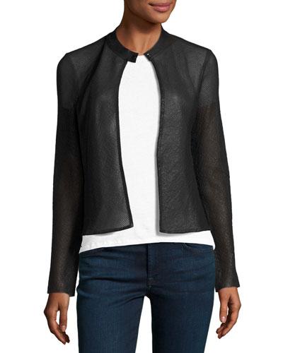 Leather Mesh Cardigan