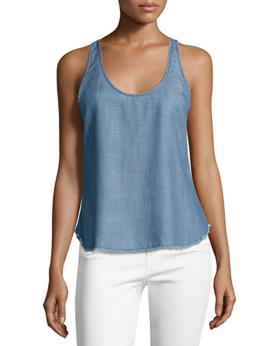 Denim Raw-Edge Racerback Tank Top, Lake
