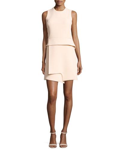 Sleeveless Notched Crepe Peplum Dress, Beige