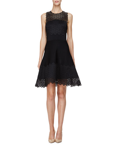 Sleeveless Circle-Lace Mini Dress, Black