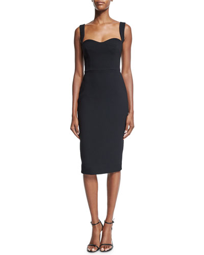 Sleeveless Sweetheart-Neck Sheath Dress, Black