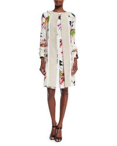 Blossom Long Straight Coat, White