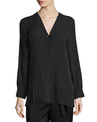Long-Sleeve Button-Front Pintuck Blouse, Black