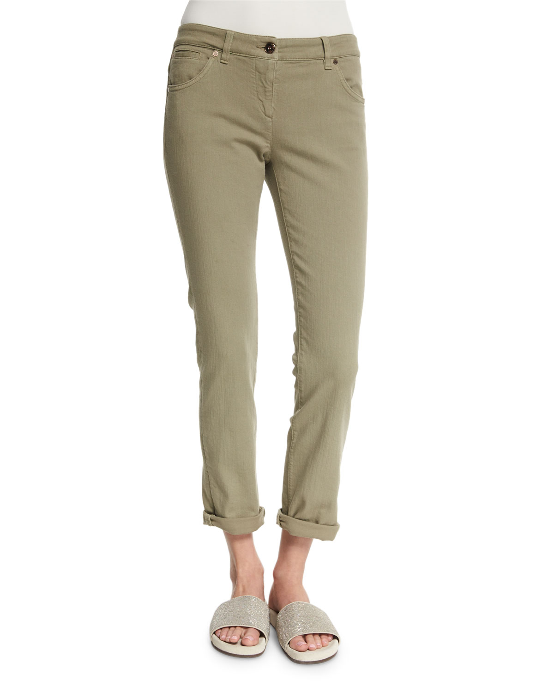 Low-Rise Skinny Jeans, Green Tea