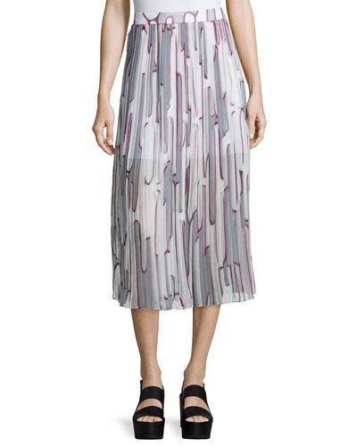 grey pleated skirt neiman