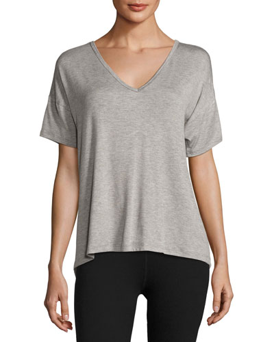 Roll the Slice Split-Back Athletic Tee, Gray