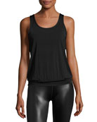 Sleek Stripe Breezy Sports Tank Top, Black