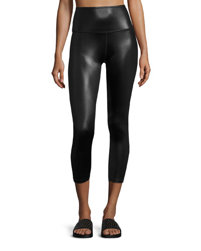 Gloss Over High-Waist Capri Legging, Black