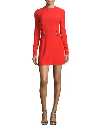 Long-Sleeve Embellished-Waist Mini Dress, Red