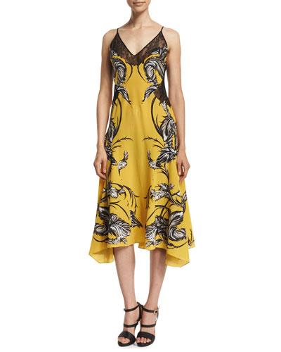 Sleeveless Feather-Print Dress W/Lace, Yellow