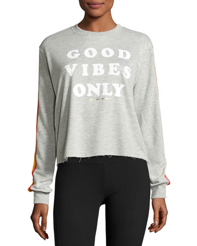 Good Vibes Only Striped Sweatshirt, Gray