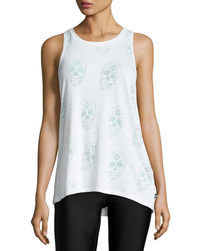 Sugar Skull Burnout Racerback Tank Top, White