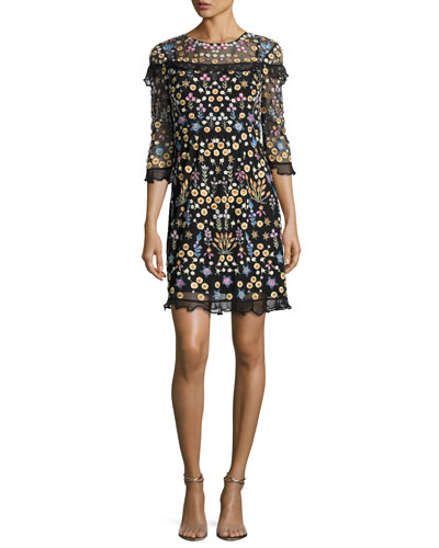 Flowerbed Embroidered Ruffle-Trim Mini Dress, Black