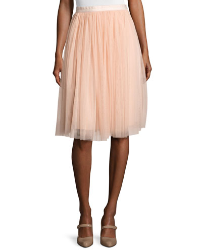 Satin-Band Tulle Midi Skirt, Pink