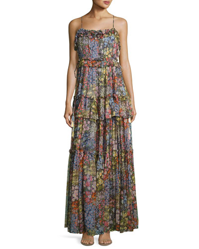 Flowerbed Sleeveless Maxi Dress, Multicolor