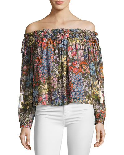 Flowerbed Off-the-Shoulder Top, Multicolor