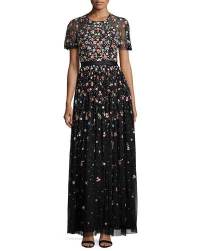 Starburst Floral-Embellished Short-Sleeve Gown, Black