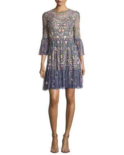Embellished Dragonfly Garden Mini Dress, Slate Blue