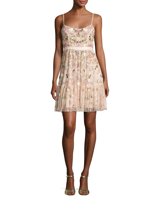 Blossom Embellished Tulle Sleeveless Dress, Blossom Pink