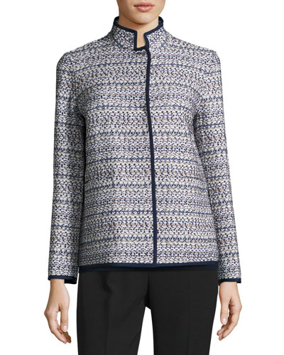 Branson Stand-Collar Tweed Jacket, Plus Size, Multi