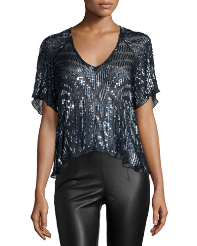 Lucas Beaded Short-Sleeve Top