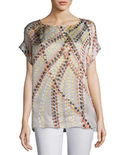 Lori Short-Sleeve Debonair Dots Silk Blouse, Plus Size, Multi Pattern