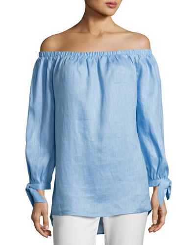 Off-the-Shoulder Linen Top, Blue