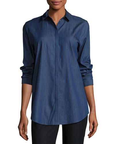 Sabira Chambray Snap-Front Blouse, Plus Size