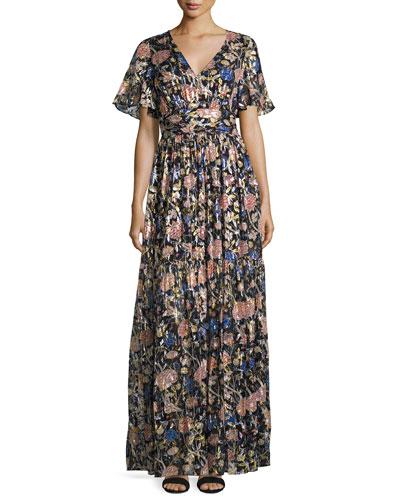 Jessy Floral-Print Maxi Dress, Black