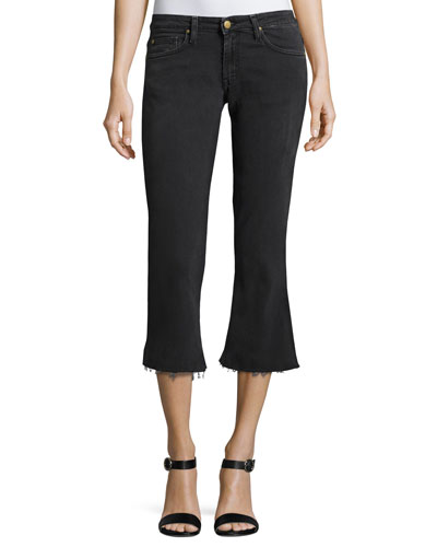 Mike Raw-Hem Kick-Flare Jeans, Blackstone