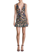 Jade Metallic Floral Silk V-Neck Mini Dress, Noir