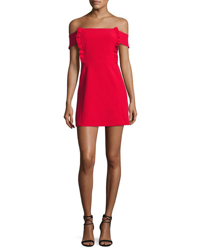 Alie Off-the-Shoulder Mini Cocktail Dress, Red