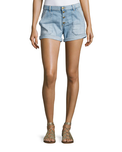 Mira Button-Front Shorts, Light Blue