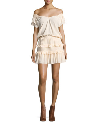 Lini Off-the-Shoulder Tiered Ruffle Mini Dress, Nude
