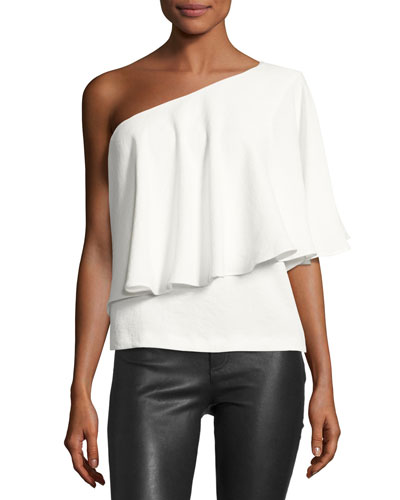Jules One-Shoulder Ruffle Top, Blanc