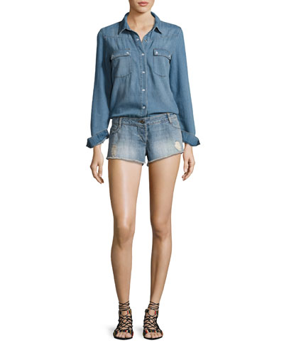Thomas Denim Long-Sleeve Playsuit, Light Blue