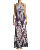 Romane Halter Maxi Dress, Multi Pattern