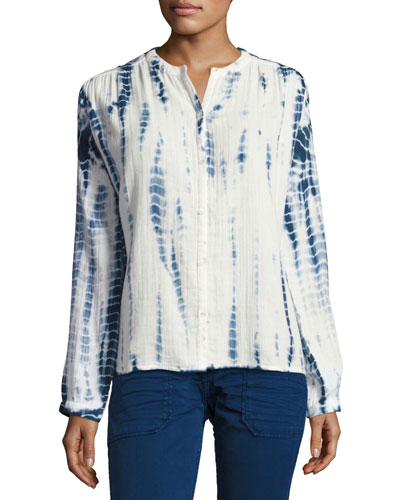 Beija Tie-Dye Collarless Shirt, Blue/White