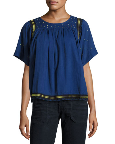 Jimi Smocked Short-Sleeve Top, Bleu