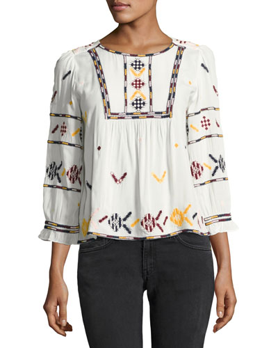 Sean Embroidered Peasant Blouse, Ecru/Ciel