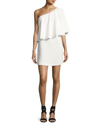 Joya One-Shoulder Ruffle Mini Dress, Blanc